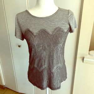 Gray Lace Overlay T-Shirt Market & Spruce